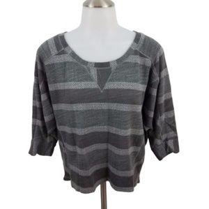 Splendid S gray striped sweater sweatshirt crew ne
